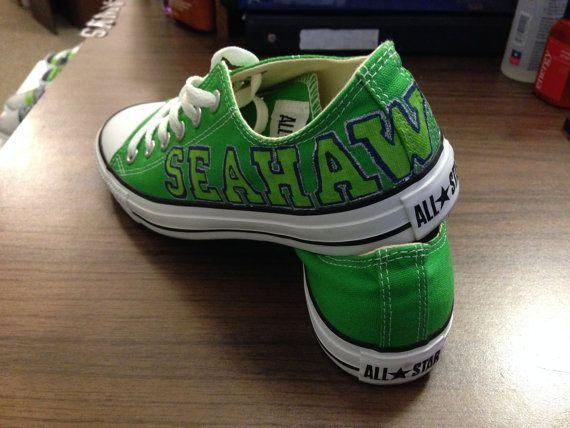 43953ced194e Handpainted Seahawks Converse by AnnMarieCuteCreation on Etsy ...