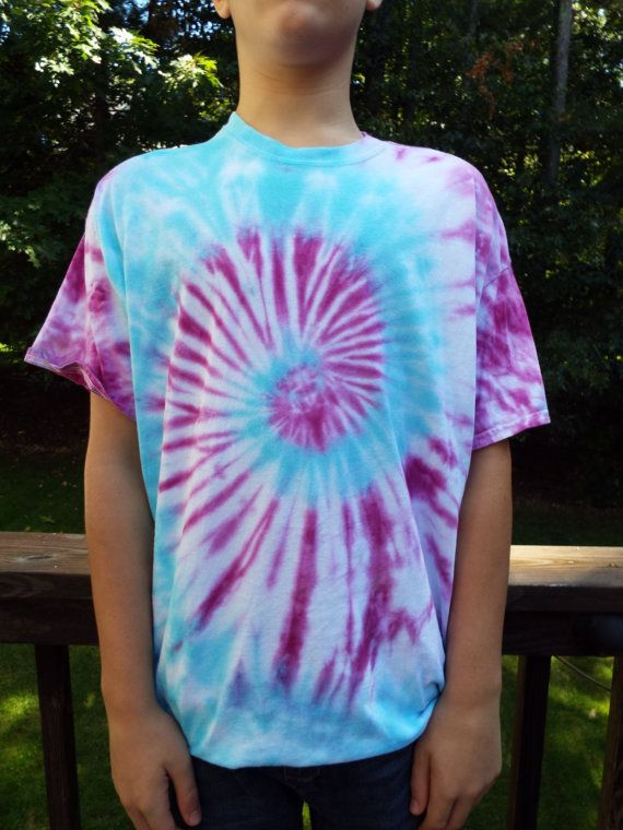3a3cdc16220 XL Tie dye shirt with blue and purple swirl pattern. Hand-dyed. Adult