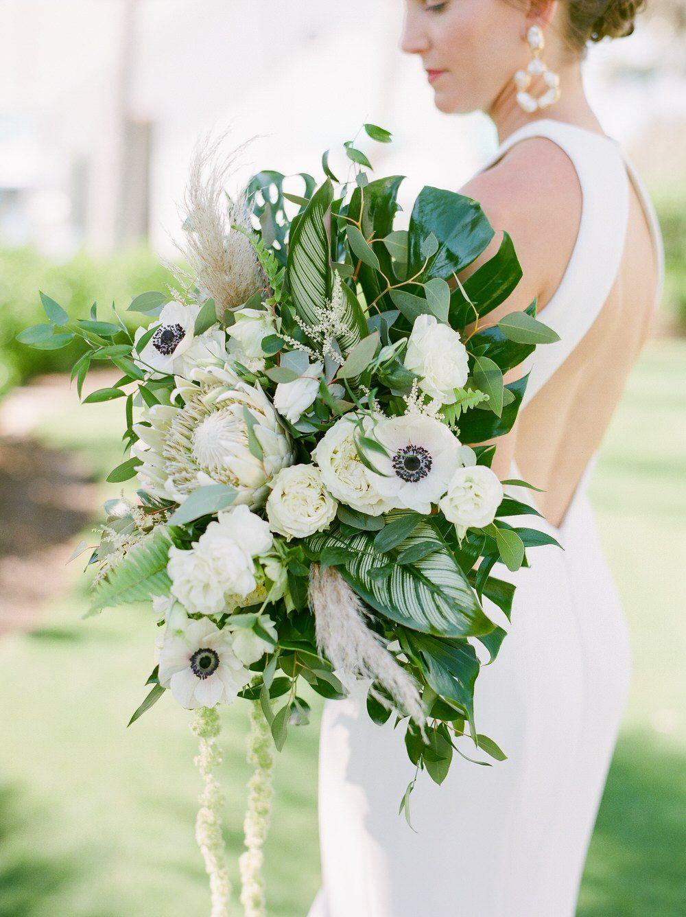 Tropical Chic Florida Wedding With A Massive Palm Leaf Bouquet