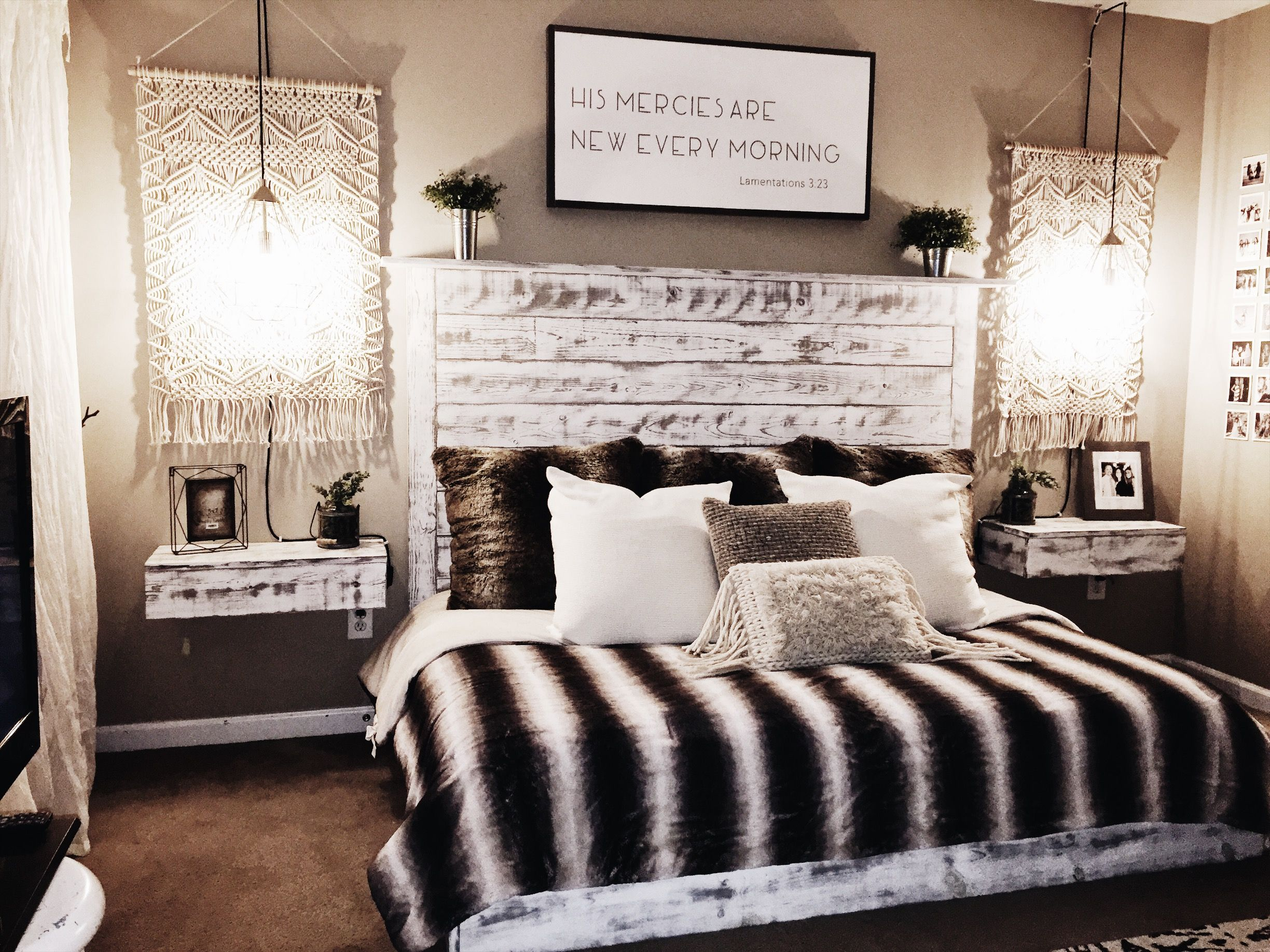 Cozy boho bedroom with white and grey platform bed and