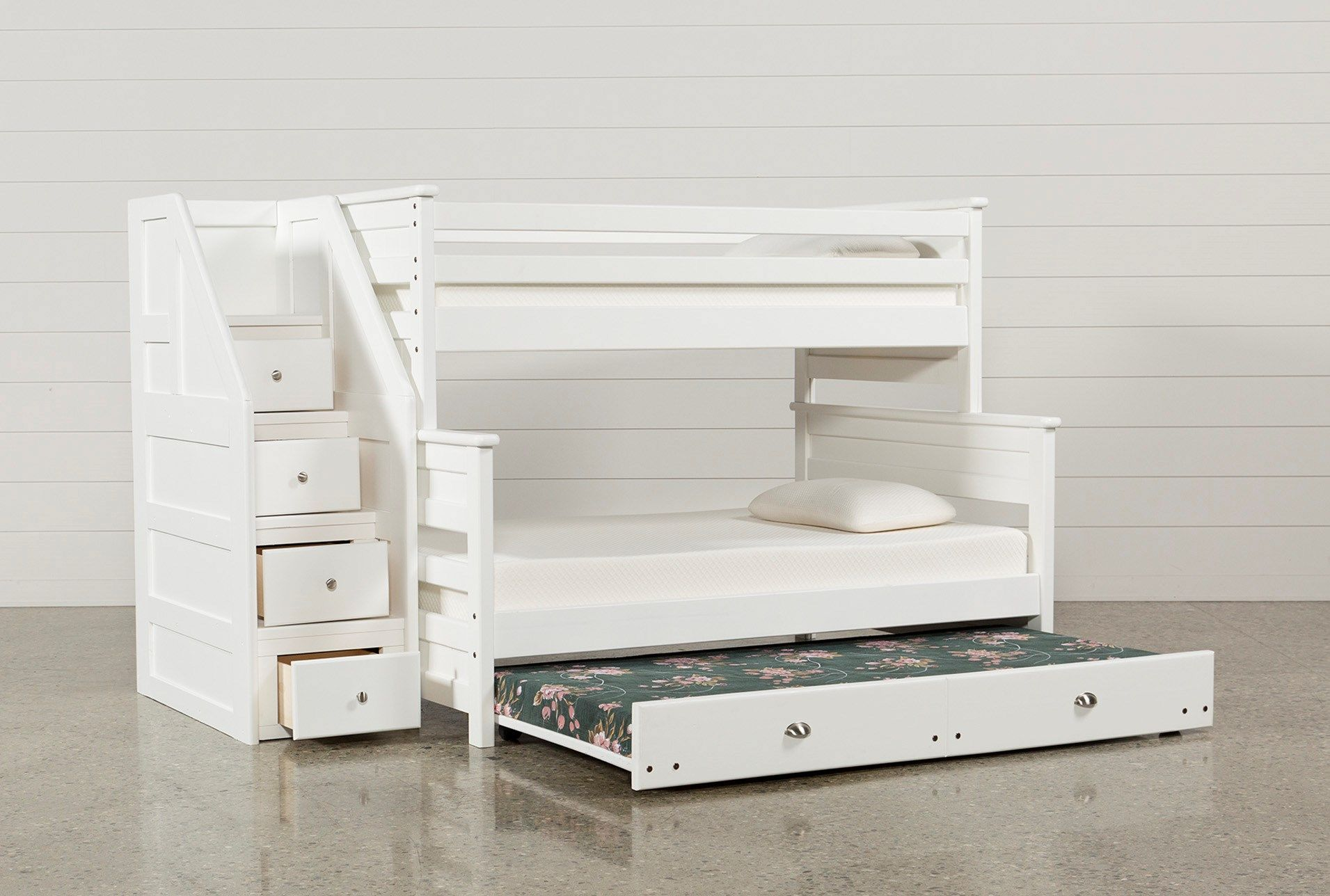 Summit White Twin Over Full Bunk With Trundle/Mattress