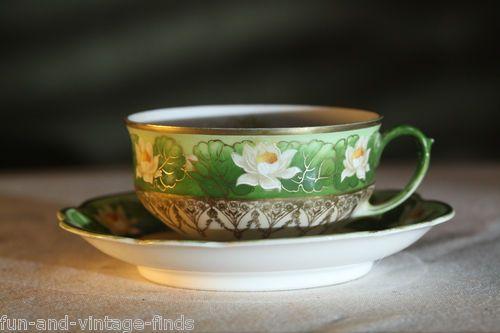 ANTIQUE+Hand+Painted+MZ+AUSTRIA+Floral+PORCELAIN+Tea+CUP+and+SAUCER+Set+VINTAGE