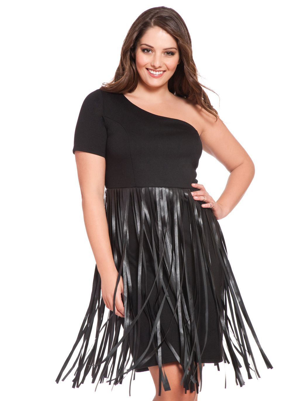 studio faux leather fringe dress | women's plus size dresses