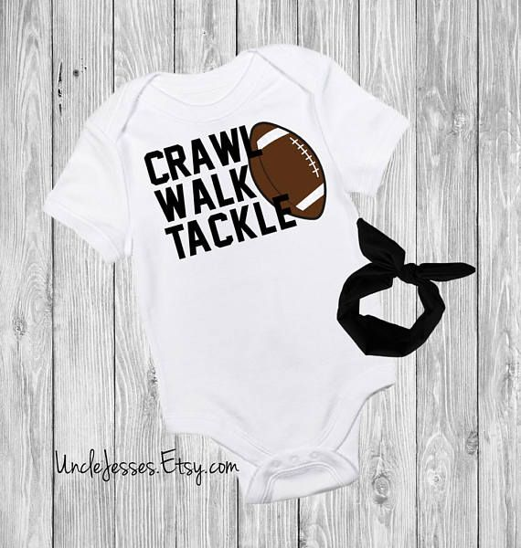 92c1c5645 Crawl Walk Tackle: Cute Baby One Piece for Football Lovers - Touchdowns and  Tutus - NFL Fan - My First Football Season Cute Funny Baby Onesie by  UncleJesses ...