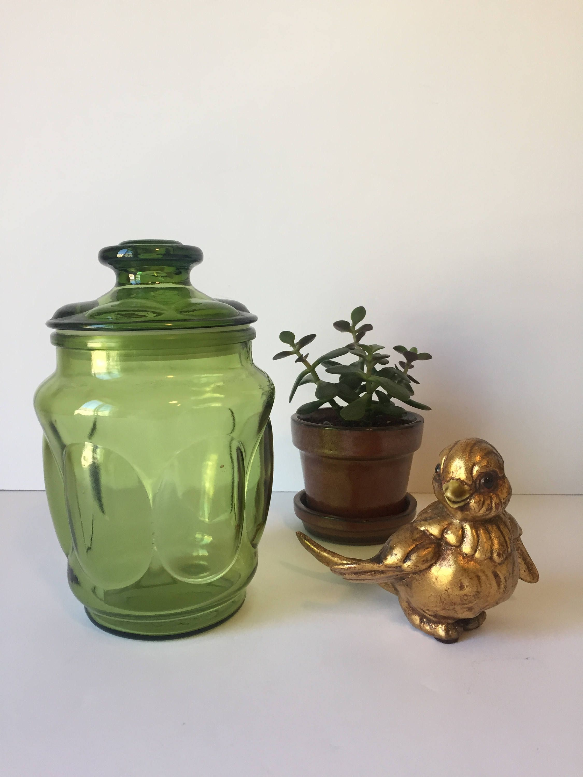 Vintage Green Glass Canister, Apothecary Jar, Mid Century Kitchen, Kitchen  Storage Container,