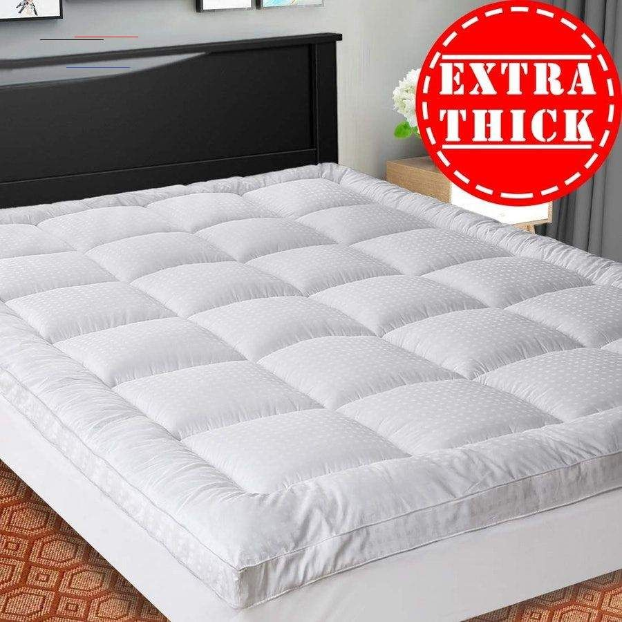 These Cloud Like Mattress Pads Are The Key To Instant Comfort They Re All Under 100 Cooling Mattress Pad Pillow Top Mattress Pad Thick Mattress Topper