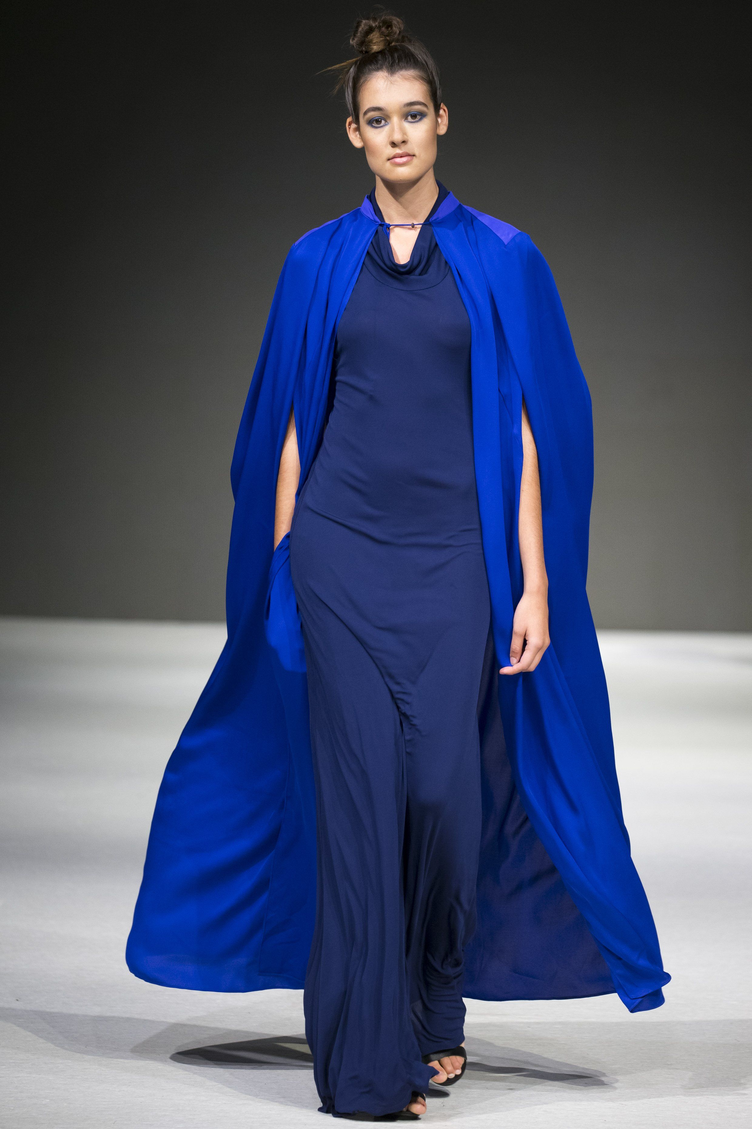 silk cape with inverted back pleats