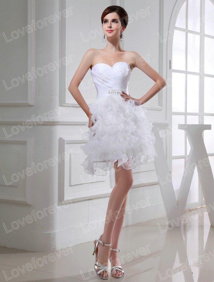 2014 Beautiful A Line Sweetheart Organza Ruching Ruffles White Short Wedding Dress