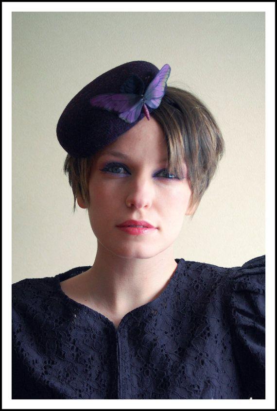 Cocktail hat  Purple butterfly tweed by RedDragonflyAKATOMBO, £75.00