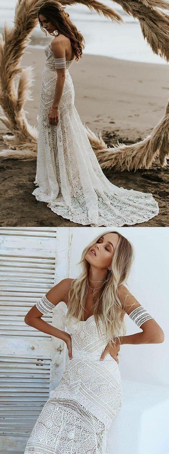 Mermaid sweetheart sweep train lace beach wedding dress w