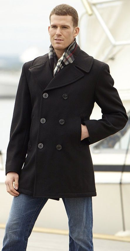 Men's Navigator Navy Wool Pea Coat Coat, Navy pea coat, Men