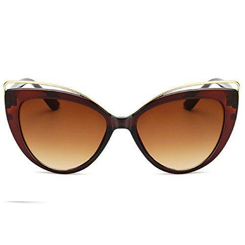 8b950a0585 GH Retro Vintage Cat Eye Sunglasses for Women Plastic Frame Sunglasses  UV400 Brown