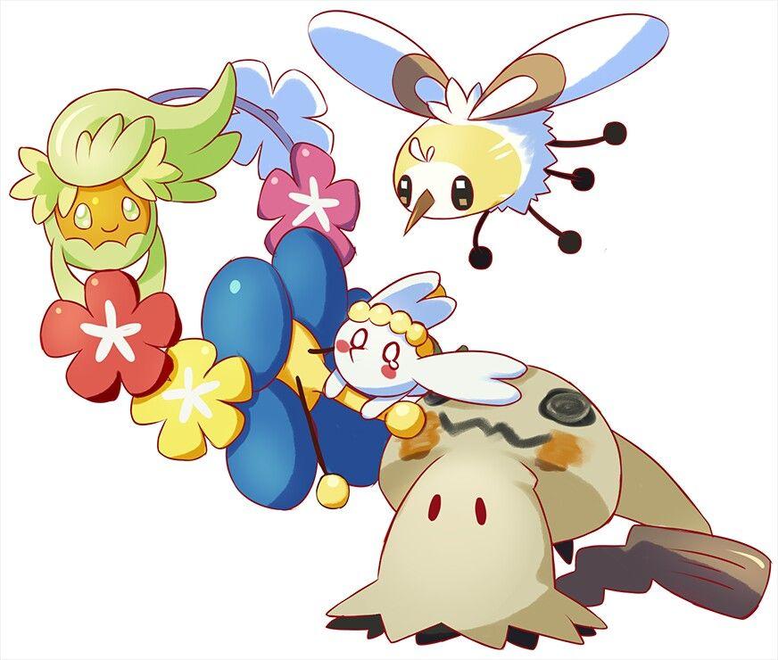 Cutiefly, Flabébé, Mimikyu, and Comfey