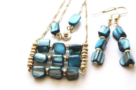Set 16k Gold Plated Beaded Necklace & Earrings  by EverywhereUR, $45.00