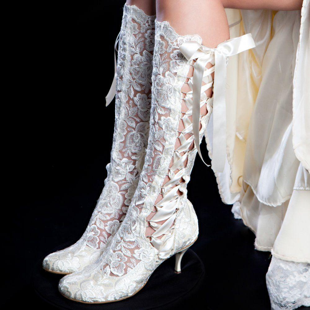 Evangeline Elliot Ivory Vintage Lace Knee High Wedding Boots
