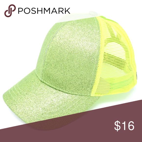 2273b0a1ebca9 C.C.Beanie Glitter High Ponytail Baseball Cap Lime Authentic CC Beanie High  Ponytail Baseball Cap Lime. Two holes for high or low ponytail.