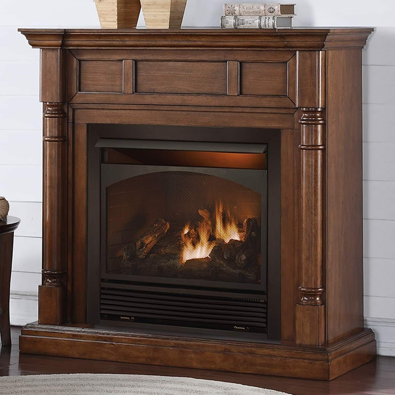 Duluth forge full size dual fuel ventless fireplace 32000 btu remote control walnut finish white