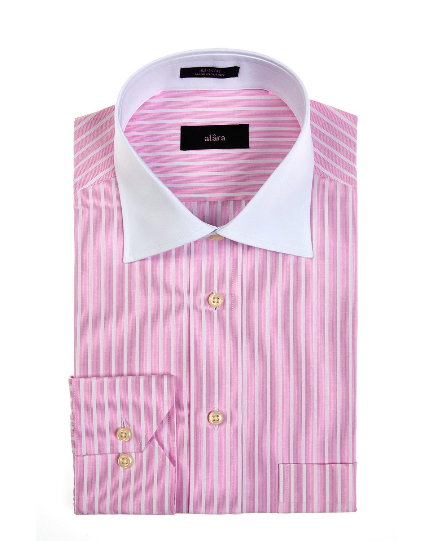 Alara White Collar Dress Shirt With Pink Stripes And Barrel Cuffs Egyptian Alara Cloth Dress Shirts White Collar Dress Shirt Mens Shirt Dress Shirt Dress [ 1500 x 1200 Pixel ]