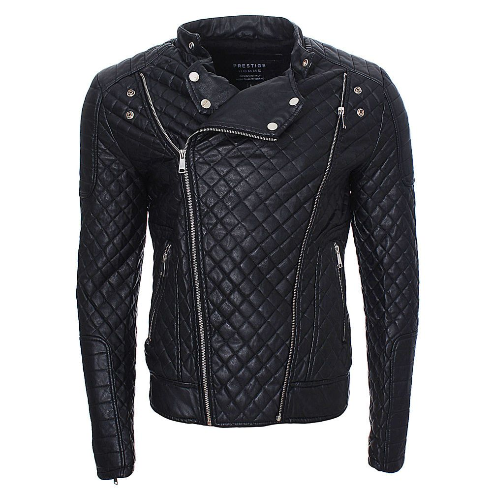 Prestige Homme Men's PU Leather Jacket Quilted Biker Jacket Black - Around $90 (If You Can Find It)