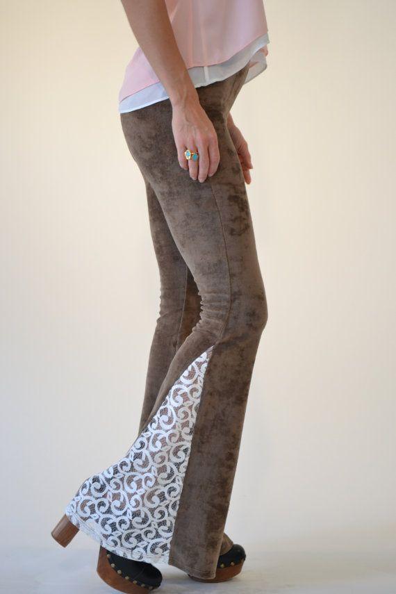 JUNO BELLS /// Lux Divine Clothing /// Velour & Vintage Crochet Bell Bottom Flare Pants