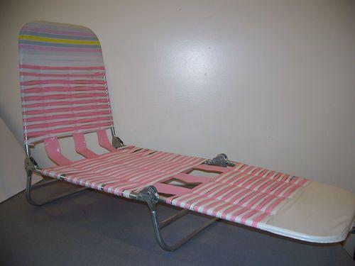 Childs Vintage Plastic Vinyl Tube Strap Lawn Chaise Lounge Folding