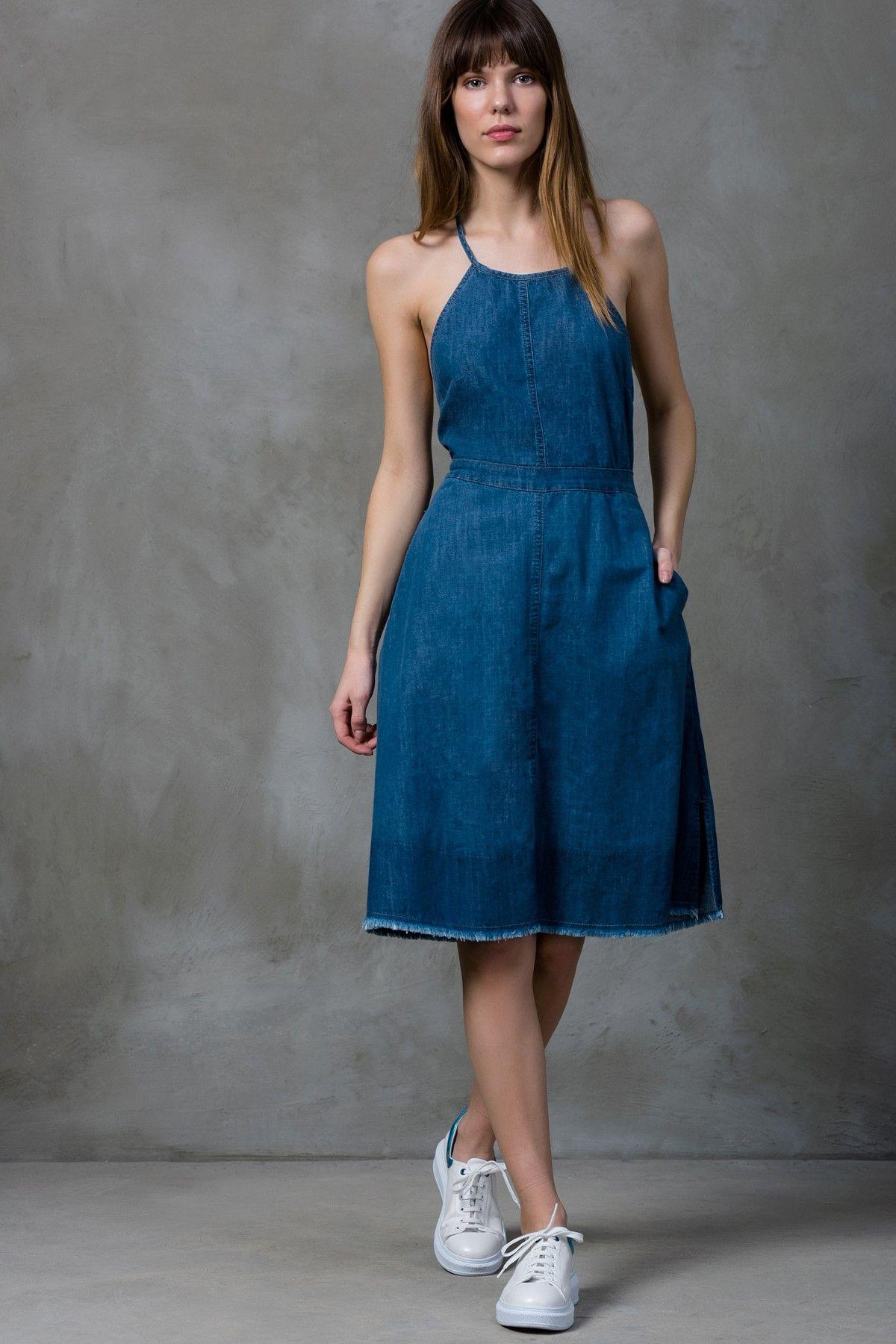 Boyundan Baglamali Mavi Jean Elbise Mlwss16cr2709 Elbise The Dress Trendler