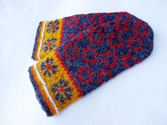 Hand Knitted Gray Red Wool Mittens Patterned Mittens Latvian