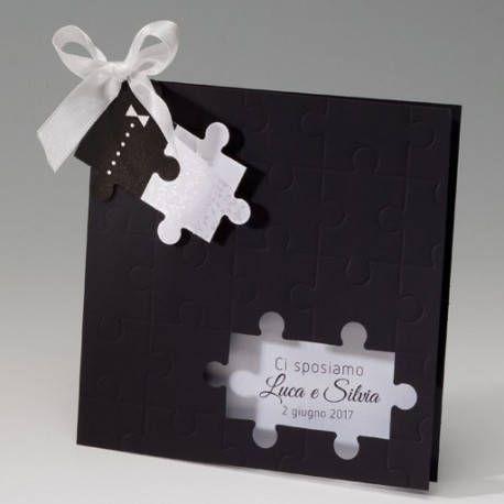 Partecipazioni Matrimonio Puzzle Prezzo.Partecipazione Invito Puzzle Busta In Cartoncino Ner Biglietti