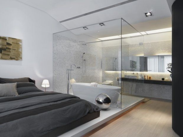 modern bathroom inside bedroom with glass wall | glass, Badezimmer