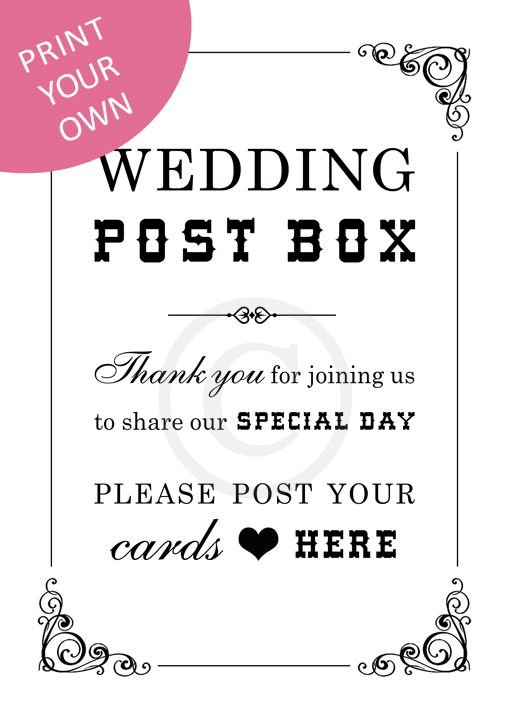 Picture 85 of Wedding Post Box Sign Template Free