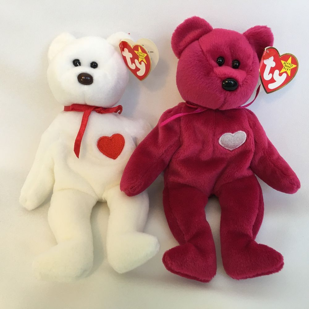 Ty Beanie Babies Valentina and Valentino Teddy Bears With Tags Tush Swing  Plush  419d6883b68f