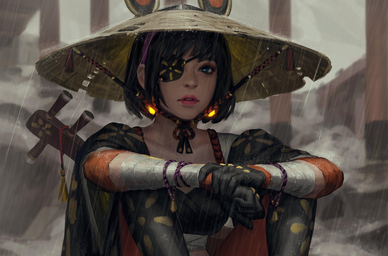 Women Artwork Warrior Painting Fantasy Art Guweiz Fan Art Samurai 2k Wallpaper Hdwallpaper Desktop Samurai Art Female Samurai Samurai Artwork