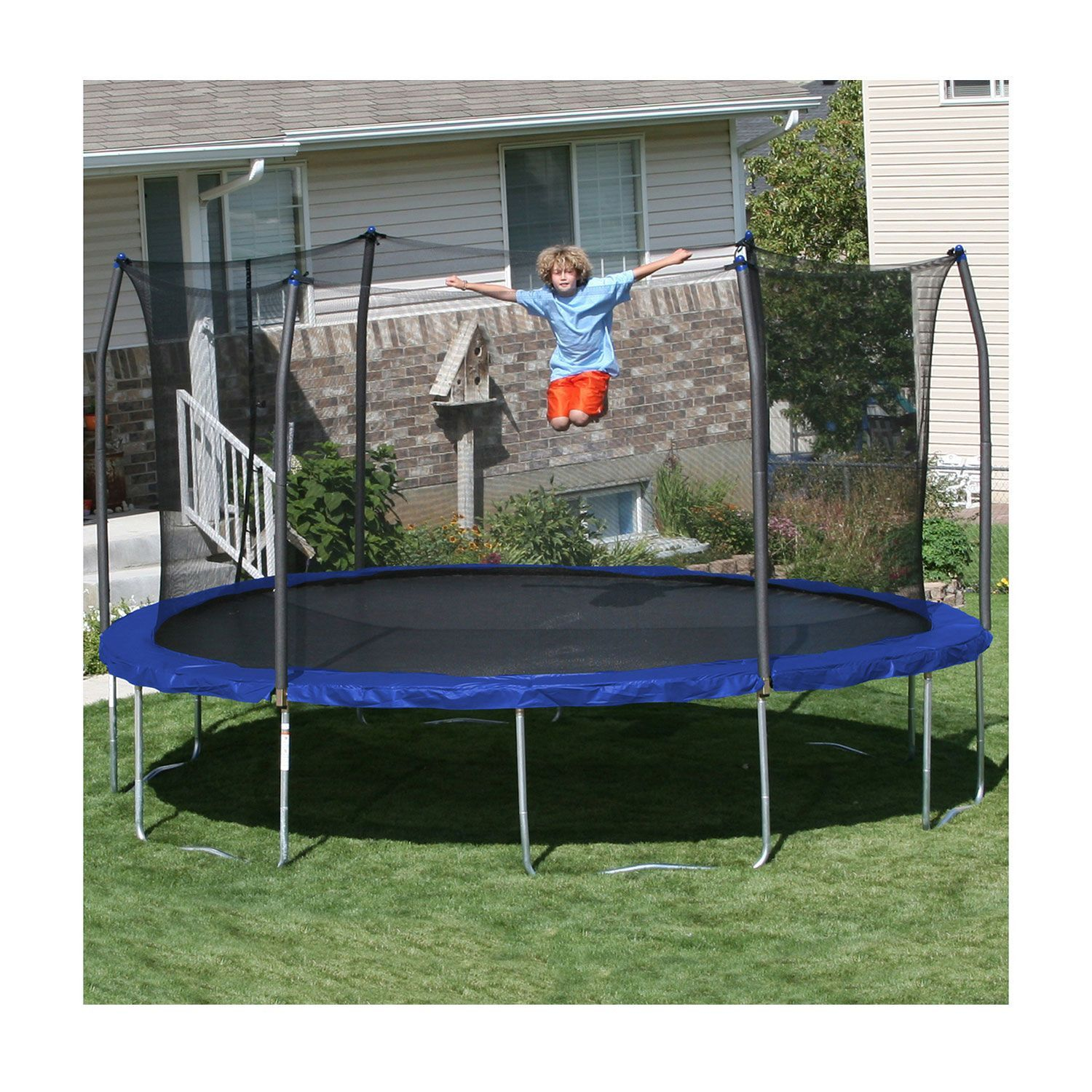 15' ft. Round Trampoline and Enclosure Combo - Royal Blue