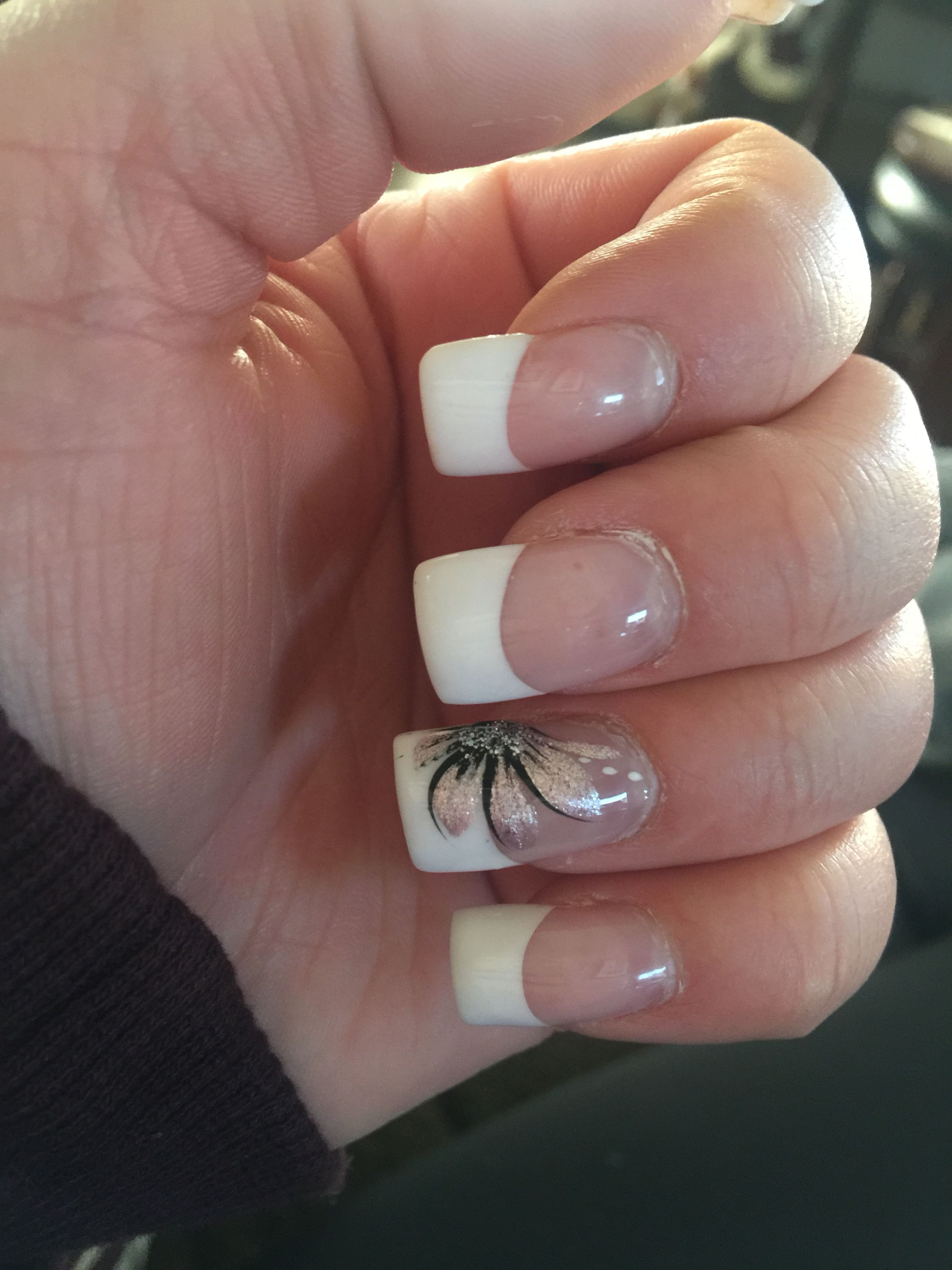 French Manicure Shallac Gel Nails With Flower Design on Ring Finger ...