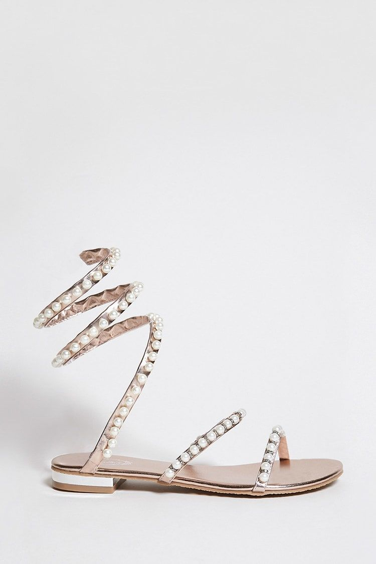 Product Name Faux Pearl Ankle Wrap Sandals