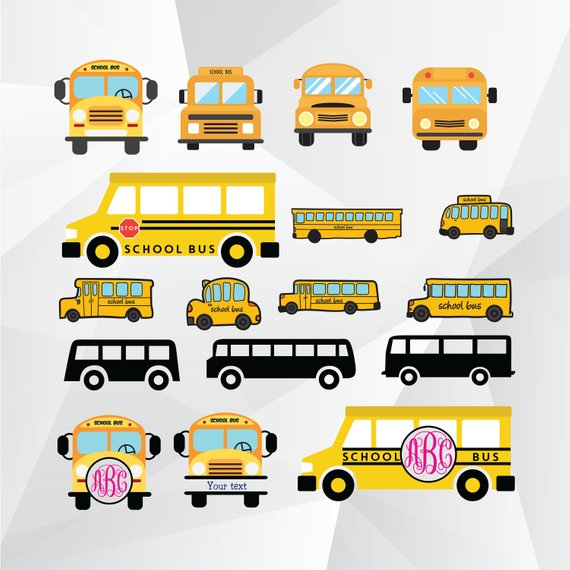 School Bus Svg School Bus Monogram Svg School Bus Clipart For