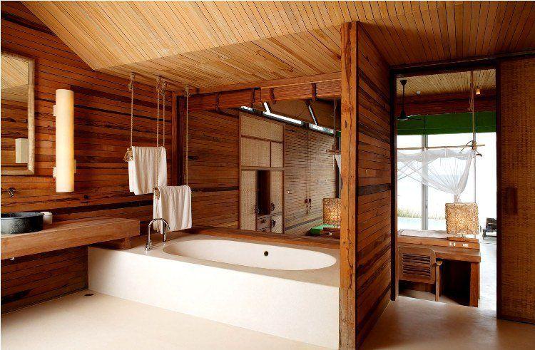 salle de bain en bois en 30 idées inspirantes ! | salle de bain en ... - Lambris Bois Plafond Salle De Bain