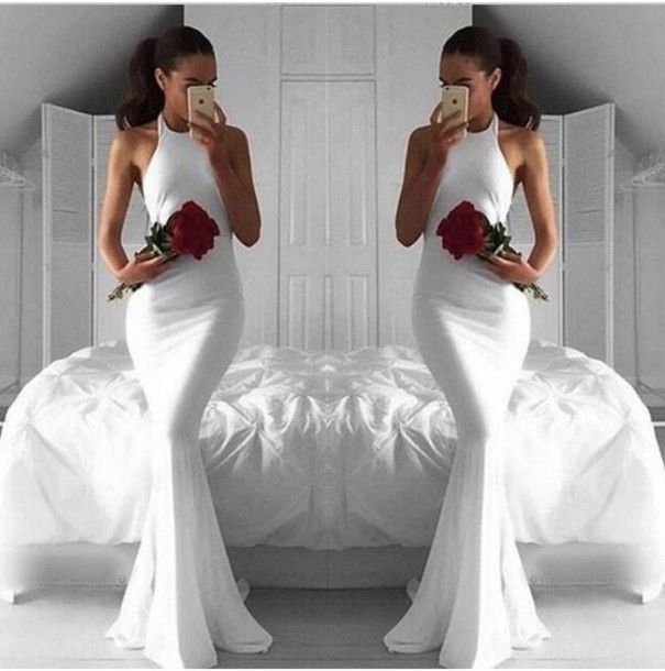 Elegant Prom Dress,White Prom Dress,Mermaid Prom Dress,Fashion Prom