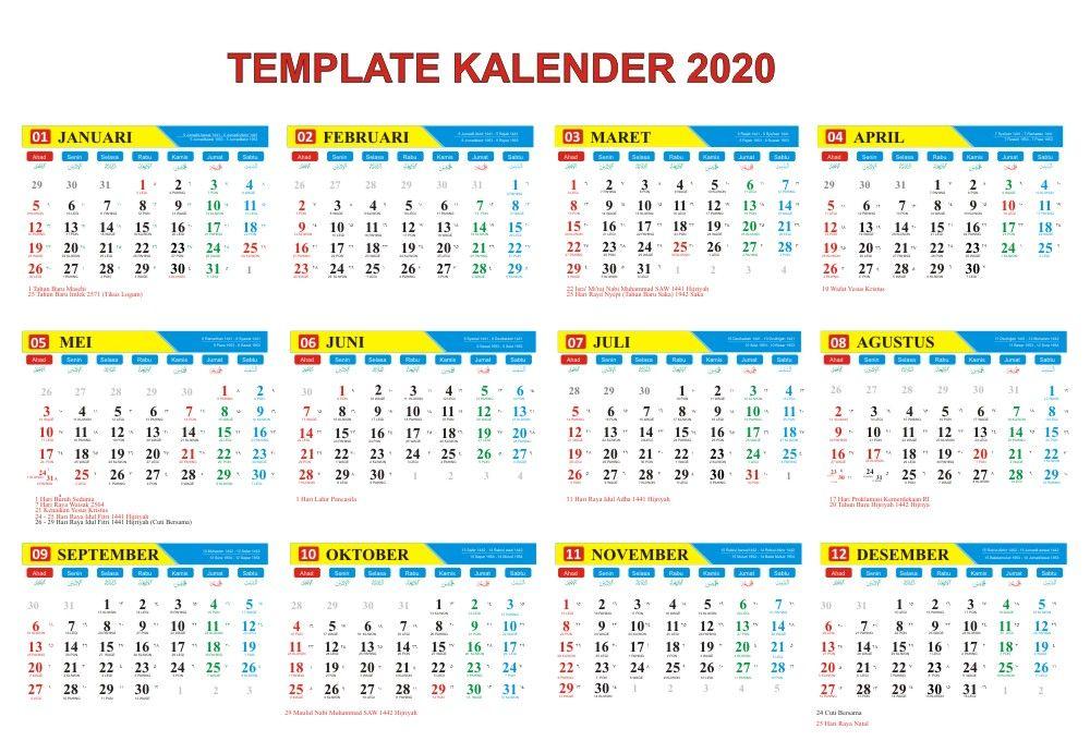 Kalender 2020 Lengkap Tanggal Merah