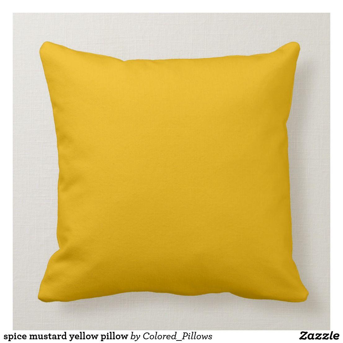 Spice Mustard Yellow Pillow Zazzle Com Bright Yellow Pillows Yellow Pillows Yellow Throw Pillows
