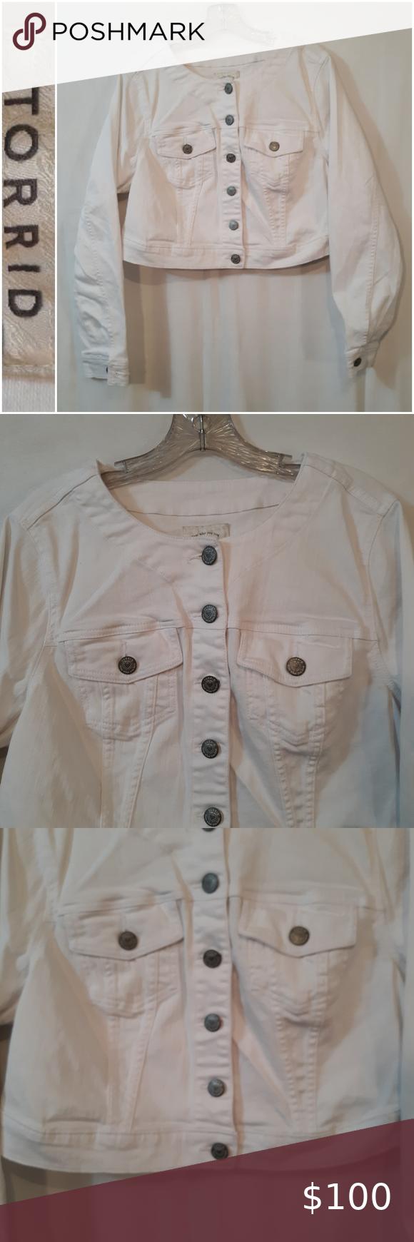 Torrid Cropped Jean Jacket White Jean Jacket Jean Jacket Jacket Brands [ 1740 x 580 Pixel ]