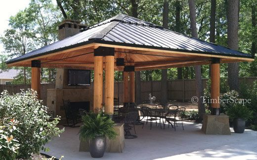 The Bungalow Custom Log Gazebo Design Is Perfect For Year Round Activity With An Undercover Fireplace