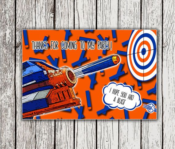 Nerf Thank You Cards Nerf Party Thank You Card Nerf Birthday Party - Party invitation template: nerf war party invitation template