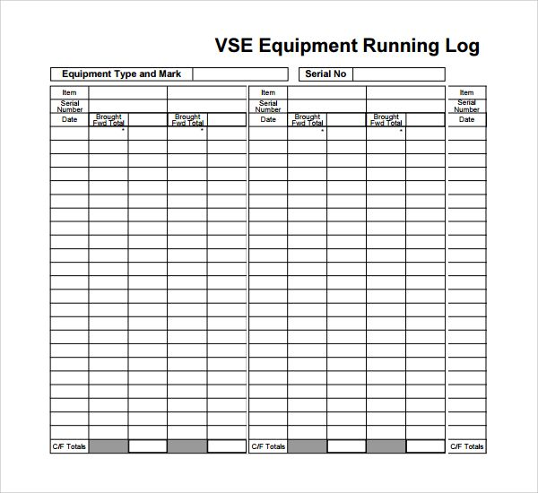 Running Log Templates 12+ Free Printable Word, Excel  PDF - printable spreadsheet template