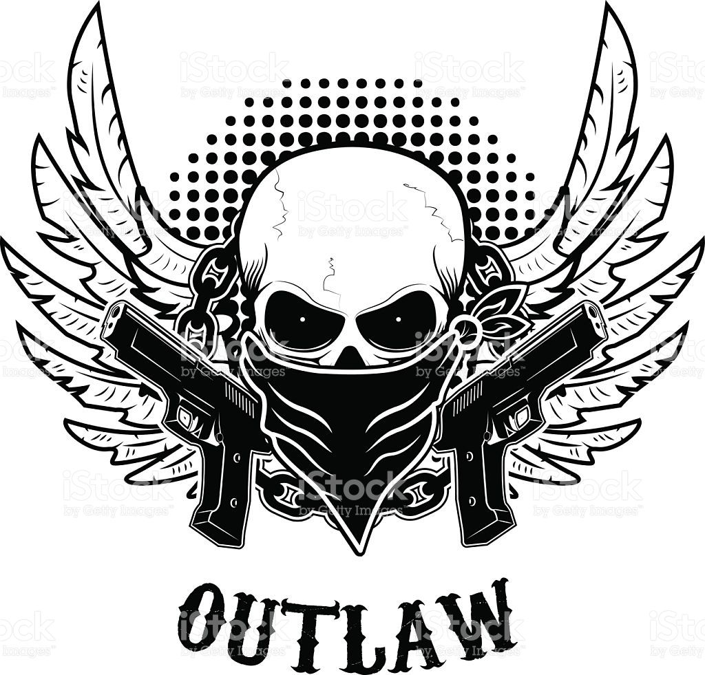 outlaw t shirt print design template skull with two guns vector