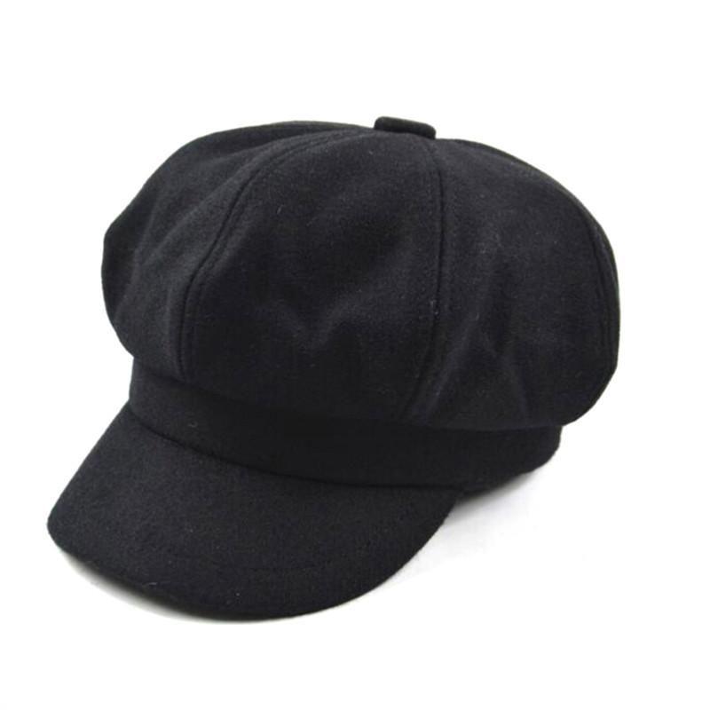 Women s French Beret Hat Newsboy Cabbie Beret Cap Cloche Woolen Painter  Visor Hats for Autumn Winter 452d91c89d29
