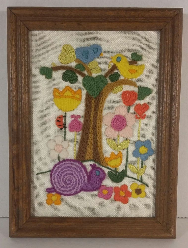 Vintage Completed Framed Sunset Designs MCMLXXVII Needlepoint Picture Snail Bird #Sunset