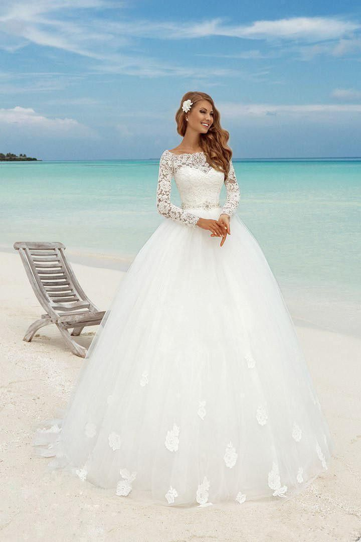 Modest country wedding dress white muslim custom made long for Princess mermaid wedding dresses