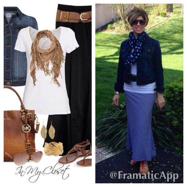 Maxi Skirts, Belts and Jean Jackets are perfect together!