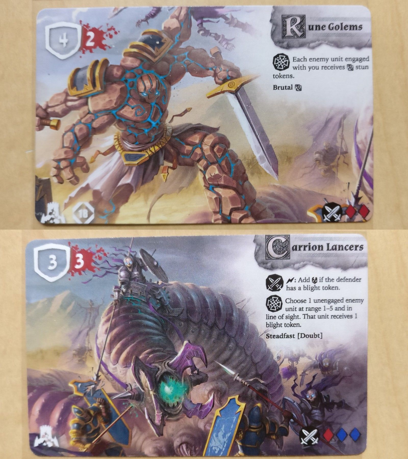 Card Games Contemporary 19082 Rune Wars Double Sided Rune Golems